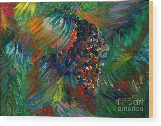 Grapes Wood Print featuring the painting Vibrant Grapes by Nadine Rippelmeyer