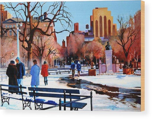 Washington Square Wood Print featuring the painting Washington Square by John Tartaglione