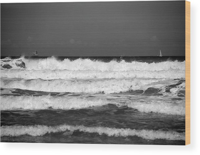 Waves Wood Print featuring the photograph Waves 1 In Bw by Susanne Van Hulst