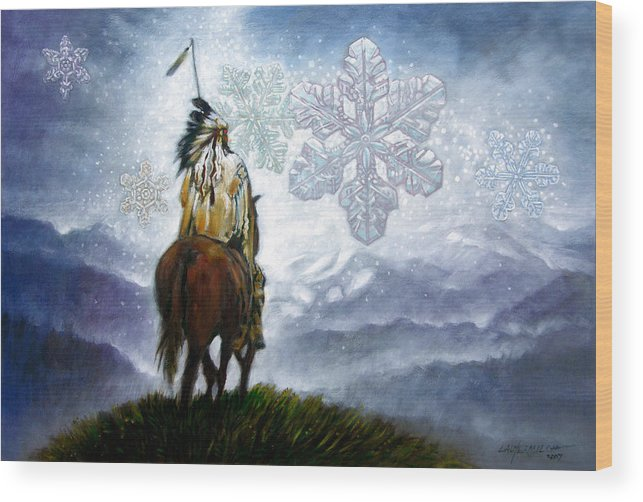 American Indian Wood Print featuring the painting We Vanish Like The Snow Flake by John Lautermilch