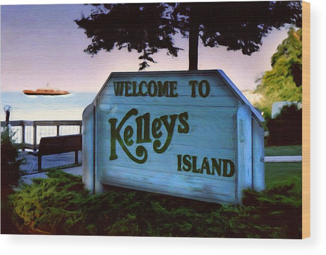 Island Wood Print featuring the painting Welcome To Kelleys Island by Kenneth Krolikowski