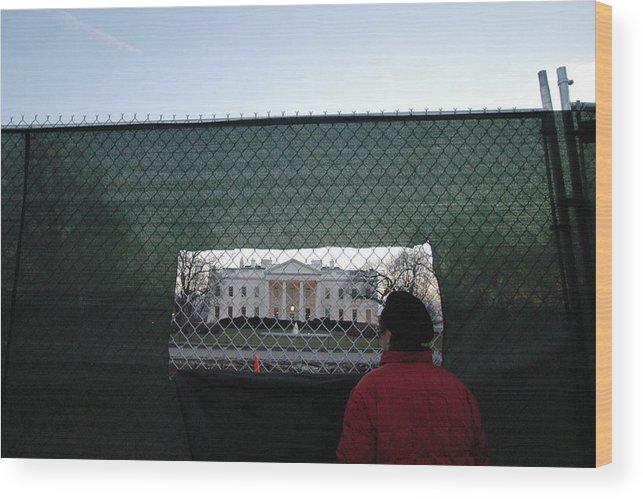 Washington Dc Wood Print featuring the photograph White House Fence Washington Dc by Thomas Michael Corcoran