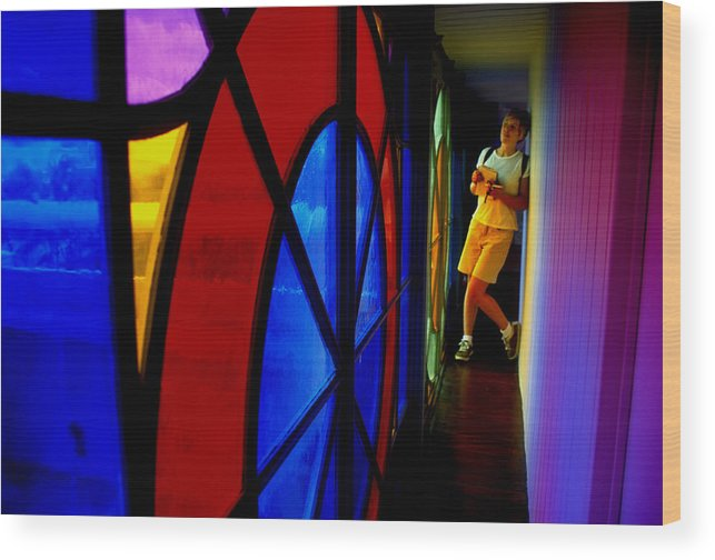 Colorful Wood Print featuring the photograph Woman And Stained Glass by Carl Purcell