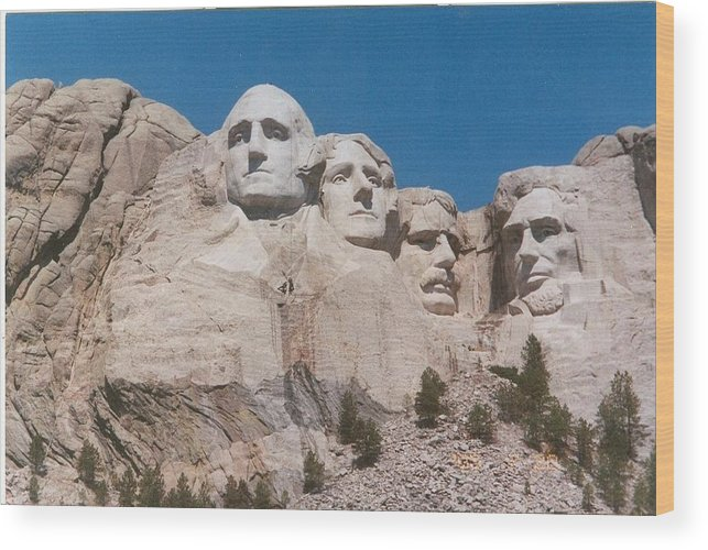 South Dakota Wood Print featuring the photograph Workers On Mt. Rushmore by Anthony Ritch