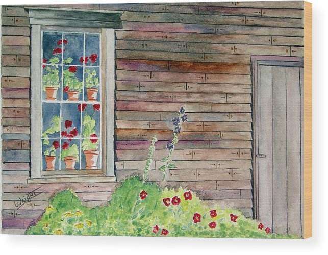 Maine Art Wood Print featuring the painting Wyeth House In Tempera Paint by Larry Wright