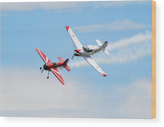 Airplanes Wood Print featuring the photograph Yak 55 And Yak 18 by Larry Keahey
