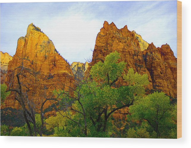 Utah Wood Print featuring the photograph Zion In Autumn by Dennis Hammer