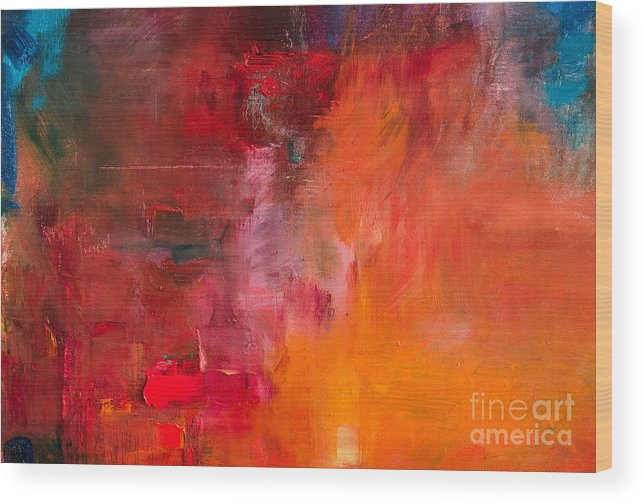 Beauty Wood Print featuring the digital art Abstract Oil Painting Background. Oil 2 by Anton Evmeshkin