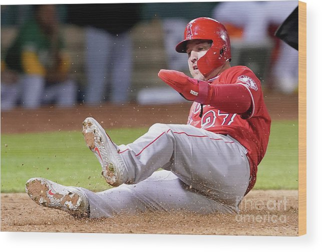 People Wood Print featuring the photograph Los Angeles Angels Of Anaheim V Oakland 2 by Thearon W. Henderson
