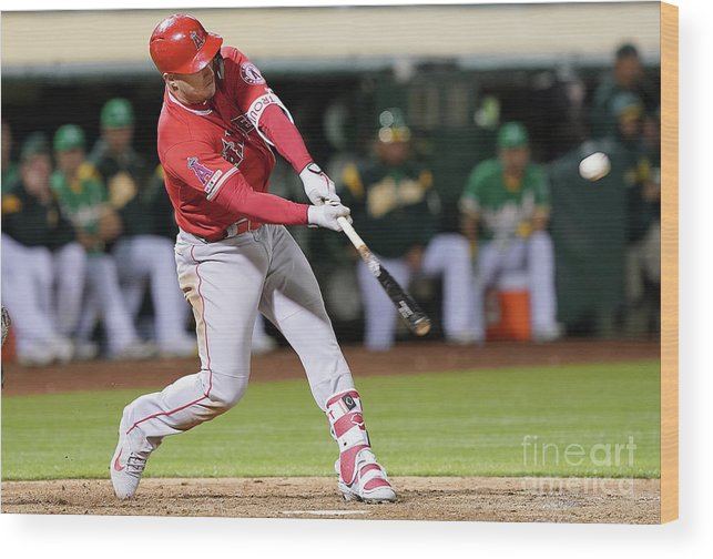 People Wood Print featuring the photograph Los Angeles Angels Of Anaheim V Oakland 3 by Thearon W. Henderson