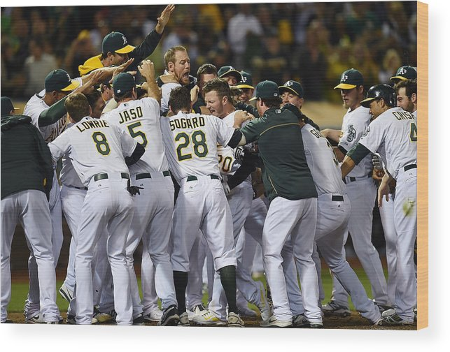 American League Baseball Wood Print featuring the photograph Detroit Tigers V Oakland Athletics 5 by Thearon W. Henderson