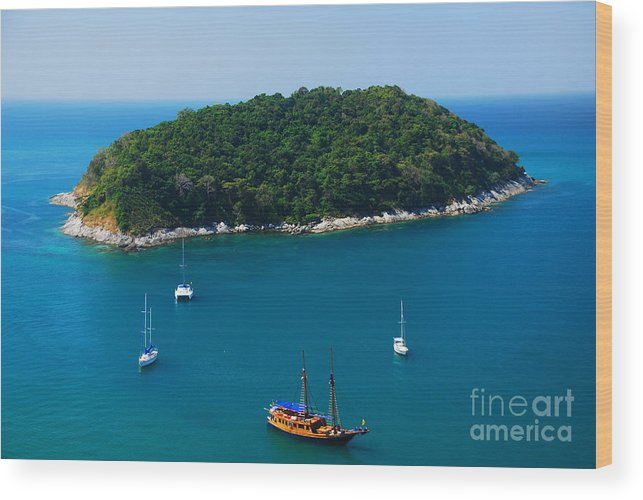 Ship Wood Print featuring the photograph Aerial View Of Boat Near Phuket Island by Lkunl
