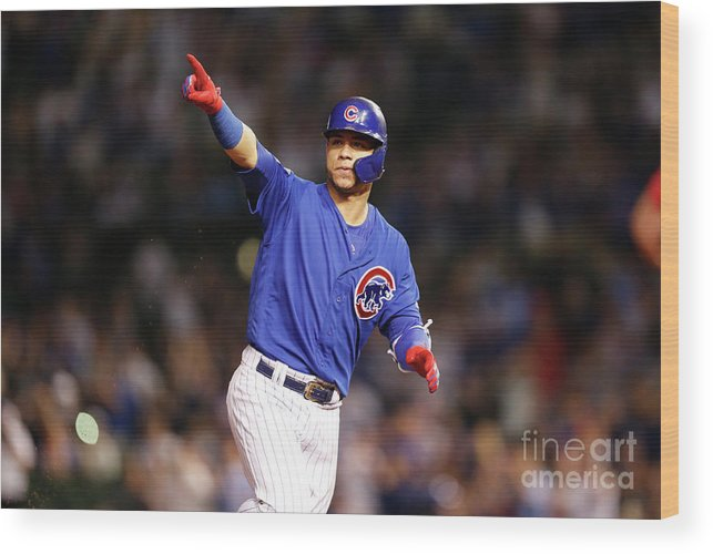 Following Wood Print featuring the photograph Atlanta Braves V Chicago Cubs by Nuccio Dinuzzo