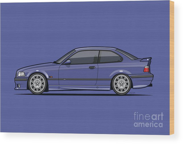 Automotive Art Wood Print featuring the digital art Bavarian E36 3-series M-drei Coupe Techno Violet by Tom Mayer