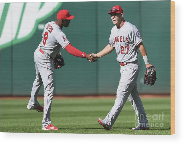 American League Baseball Wood Print featuring the photograph Los Angeles Angels Of Anaheim V by Thearon W. Henderson