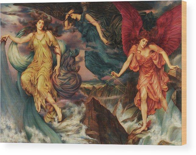 Evelyn De Morgan Wood Print featuring the painting The Storm Spirits, 1900 by Evelyn De Morgan