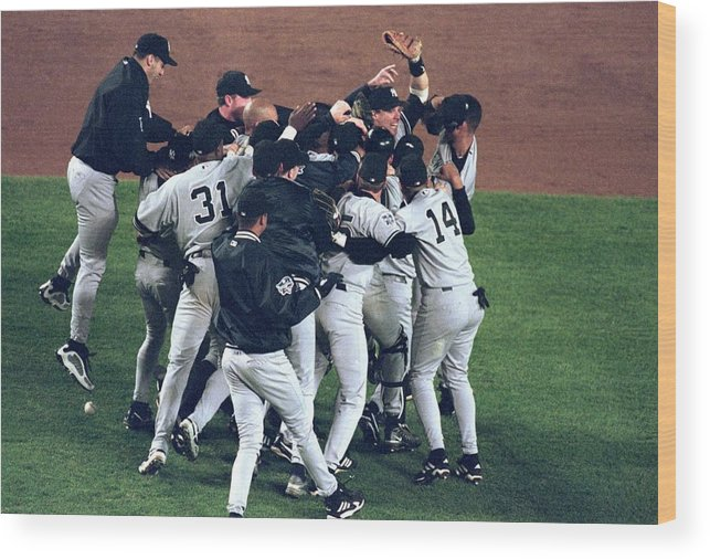 Celebration Wood Print featuring the photograph View Of Yankees by Al Bello