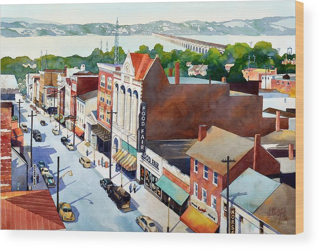 Landscape Wood Print featuring the painting Vintage Color, Columbia Rooftops by Mick Williams