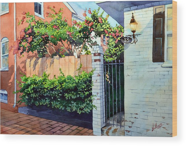 #landscape #cityscape #floweringcourtyard #watercolor #rustic #brick #americana Wood Print featuring the painting Walking On Jefferson by Mick Williams