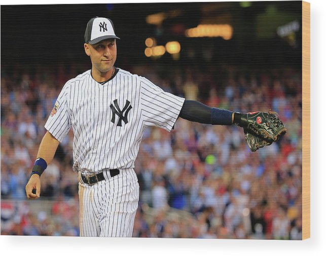 Crowd Wood Print featuring the photograph Derek Jeter by Rob Carr