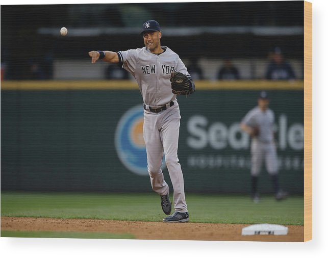 Playoffs Wood Print featuring the photograph Derek Jeter And Brad Miller by Otto Greule Jr
