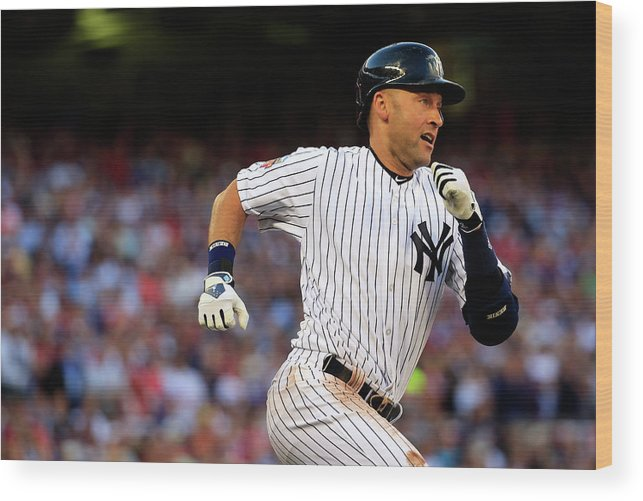 People Wood Print featuring the photograph Derek Jeter by Rob Carr