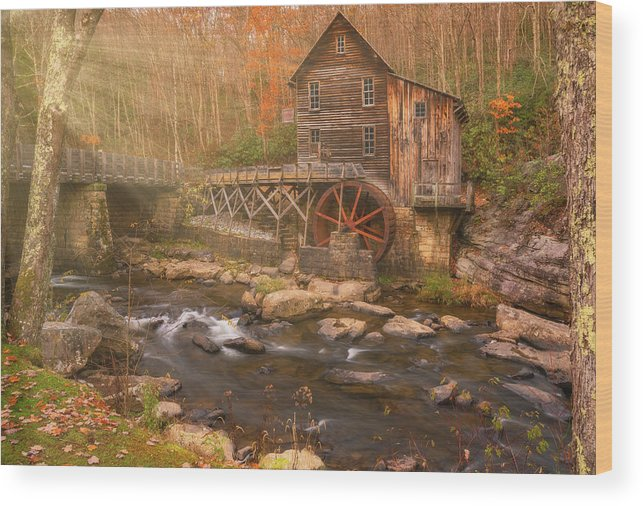 Fall Wood Print featuring the photograph Glade Creek Grist Mill by Darren White