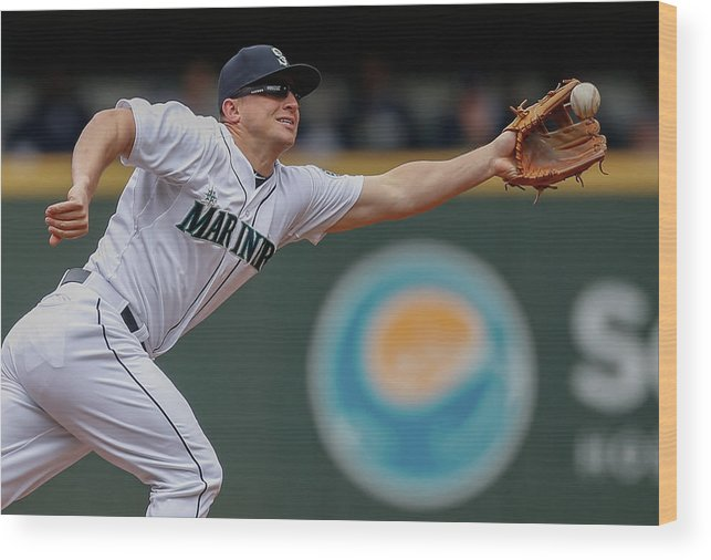 American League Baseball Wood Print featuring the photograph Kyle Seager And Chris Denorfia by Otto Greule Jr