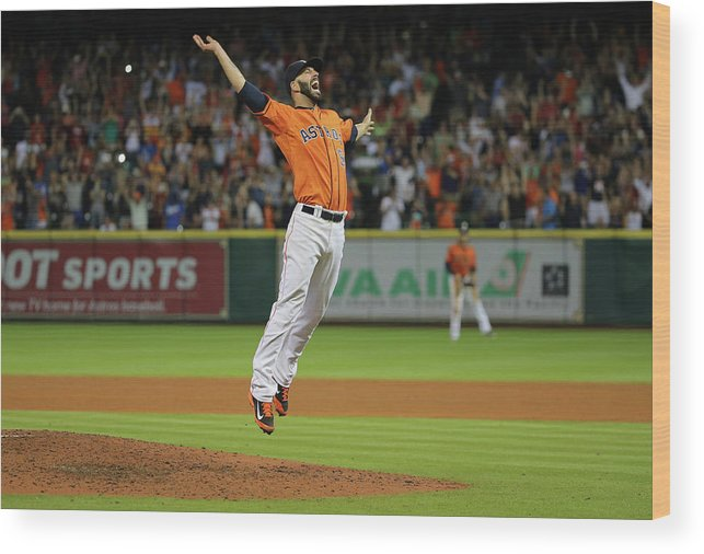 People Wood Print featuring the photograph Mike Fiers by Scott Halleran