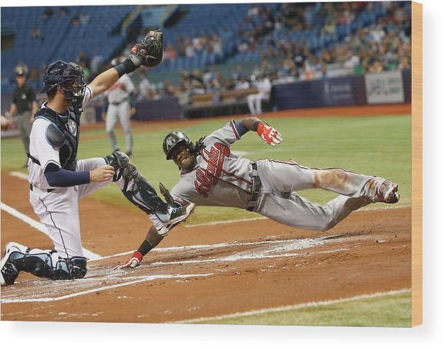 Baseball Catcher Wood Print featuring the photograph Nick Markakis And Cameron Maybin by Brian Blanco