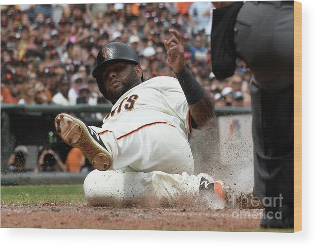 San Francisco Wood Print featuring the photograph Pablo Sandoval by Thearon W. Henderson