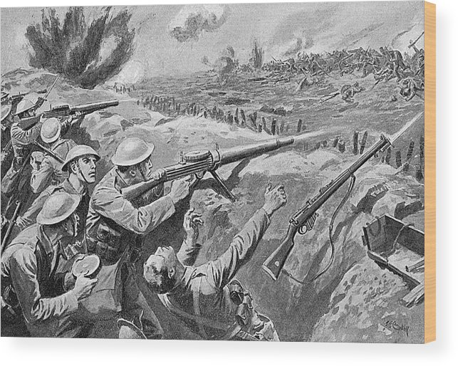 Lewis Wood Print featuring the drawing Lewis Gun In The British Trenches by Mary Evans Picture Library