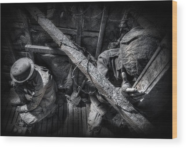 War Wood Print featuring the photograph Entrenched by Wayne Sherriff