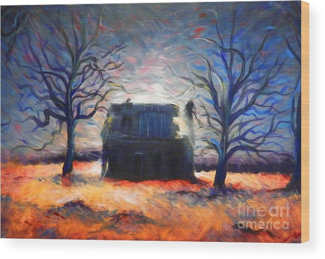 Rustic Wood Print featuring the painting Hwy. 62 Memory by Ashley Meyer
