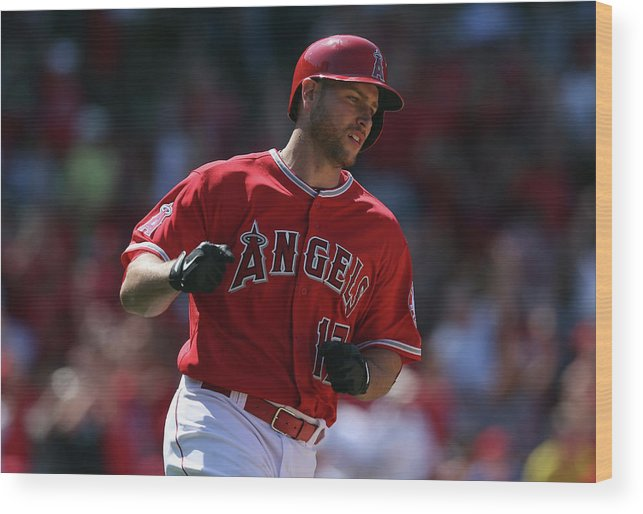 Fist Wood Print featuring the photograph Kansas City Royals V Los Angeles Angels 1 by Jeff Gross