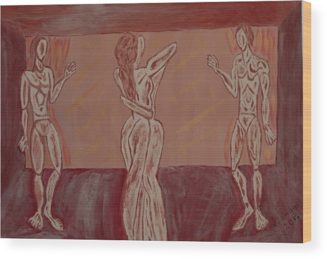 Couple Wood Print featuring the painting Love And Anarchy by X-andra De Thessalonique