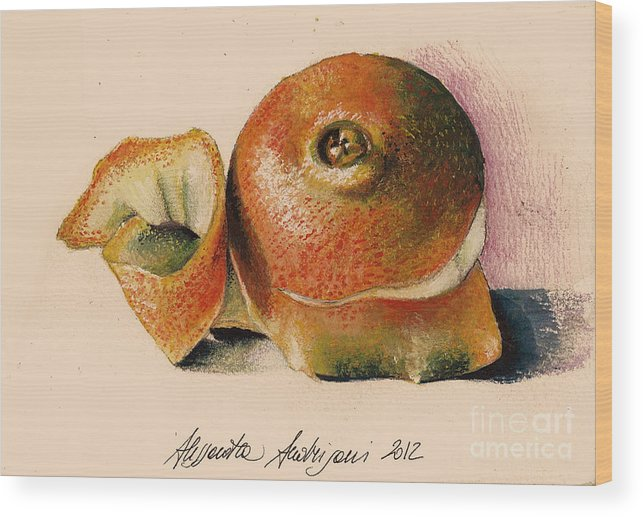 Fruit Wood Print featuring the painting Orange..navel by Alessandra Andrisani