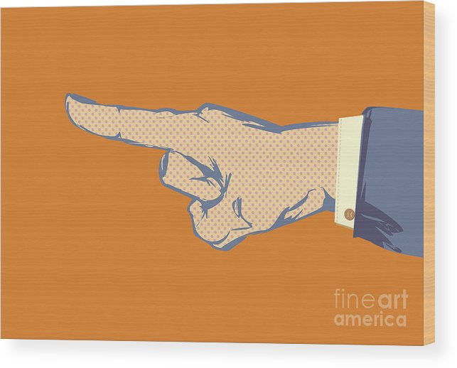 Business Wood Print featuring the photograph Pointing Finger Vector by Tim Hester