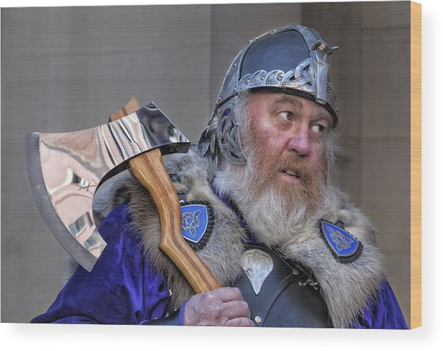 Tartan Day Parade Nyc 2013 Wood Print featuring the photograph Tartan Day Parade Nyc 2013 Shetland Isle Celtic Warrior by Robert Ullmann