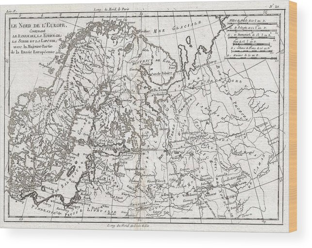 A Fine Example Of Rigobert Bonne And Guillaume Raynal's 1780 Map Of Northern Europe And European Russia. Covers The Modern Day Countries Of Norway Wood Print featuring the photograph 1780 Raynal And Bonne Map Of Northern Europe And European Russia by Paul Fearn