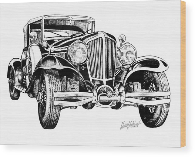 1930 Cord Wood Print featuring the drawing 1930 Cord by Harry West