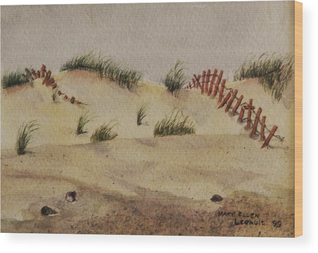 Sand Wood Print featuring the painting Dunes by Mary Ellen Mueller Legault