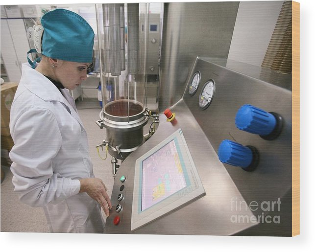 Manufacturing Wood Print featuring the photograph Pharmaceutical Factory by Ria Novosti