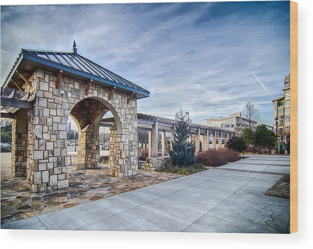 Cultured Wood Print featuring the photograph Cultured Stone Terrace Trellis Details Near Park In A City by Alex Grichenko