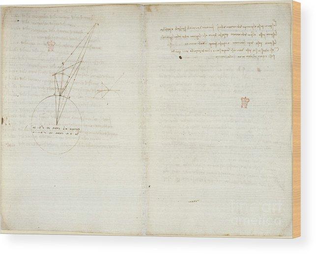 Leonardo Da Vinci Wood Print featuring the photograph Leonardo Da Vinci's Notes by British Library