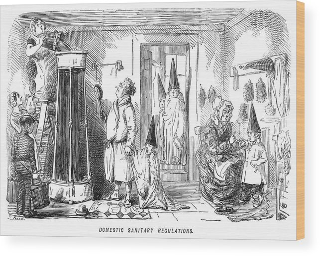 Family Wood Print featuring the drawing A Family Prepare To Partake Of A Shower by Mary Evans Picture Library