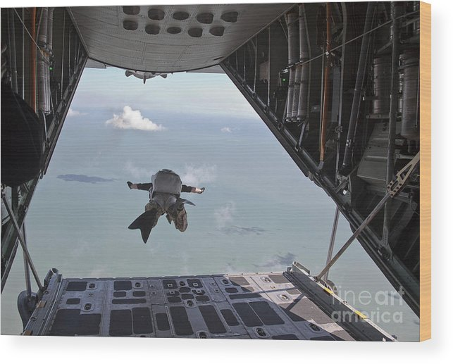 Military Wood Print featuring the photograph A Pararescueman Free Falls by Stocktrek Images