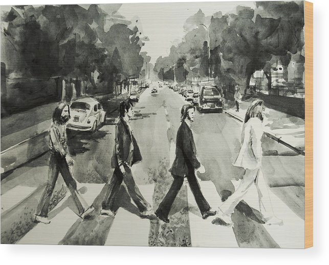 The Beatles Wood Print featuring the painting Abbey Road by Bekim M