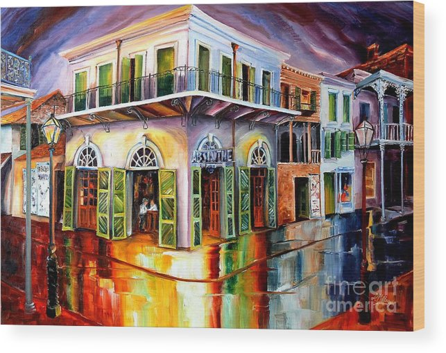New Orleans Wood Print featuring the painting Absinthe House New Orleans by Diane Millsap