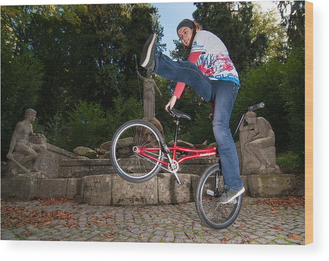 Bmx Flatland Wood Print featuring the photograph Alive And Kicking - Bmx Flatland Power Girl by Matthias Hauser